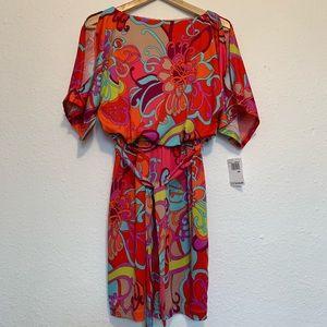 Trina Turk vibrant floral mini dress cold shoulder